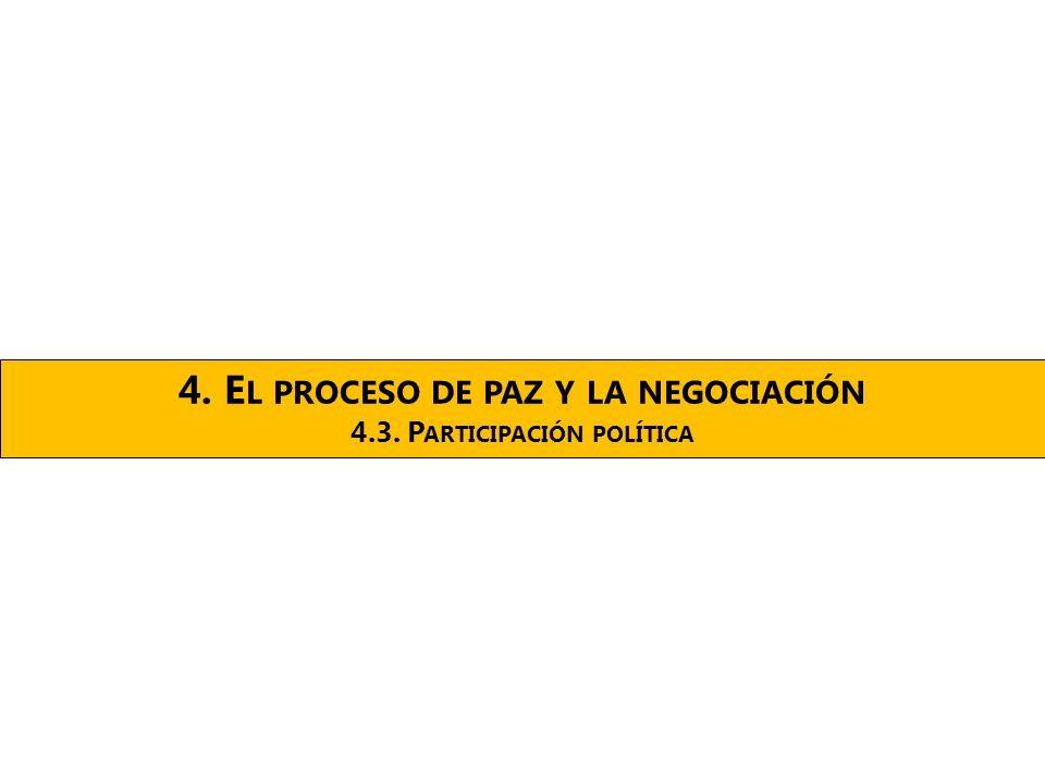 4. E L PROCESO DE PAZ Y LA NEGOCIACIÓN 4.3. P ARTICIPACIÓN POLÍTICA