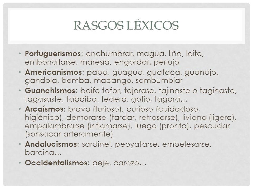 RASGOS LÉXICOS Portuguerismos : enchumbrar, magua, liña, leito, emborrallarse, maresía, engordar, perlujo Americanismos : papa, guagua, guataca, guana