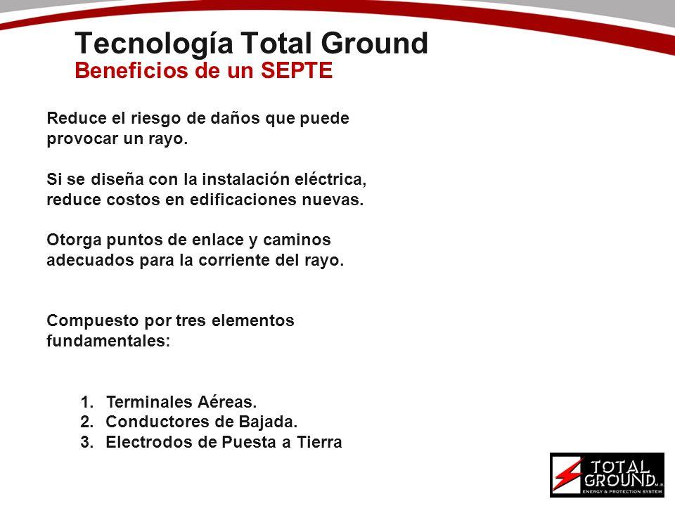 Tecnología Total Ground Beneficios de un SEPTE Reduce el riesgo de daños que puede provocar un rayo. Si se diseña con la instalación eléctrica, reduce