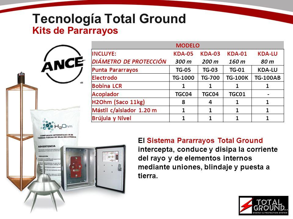 Tecnología Total Ground Kits de Pararrayos MODELO INCLUYE:KDA-05KDA-03KDA-01KDA-LU DIÁMETRO DE PROTECCIÓN300 m200 m160 m80 m Punta PararrayosTG-05TG-0