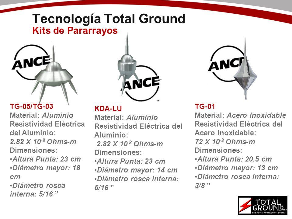 Tecnología Total Ground Kits de Pararrayos TG-05/TG-03 Material: Aluminio Resistividad Eléctrica del Aluminio: 2.82 X 10 -8 Ohms-m Dimensiones: Altura