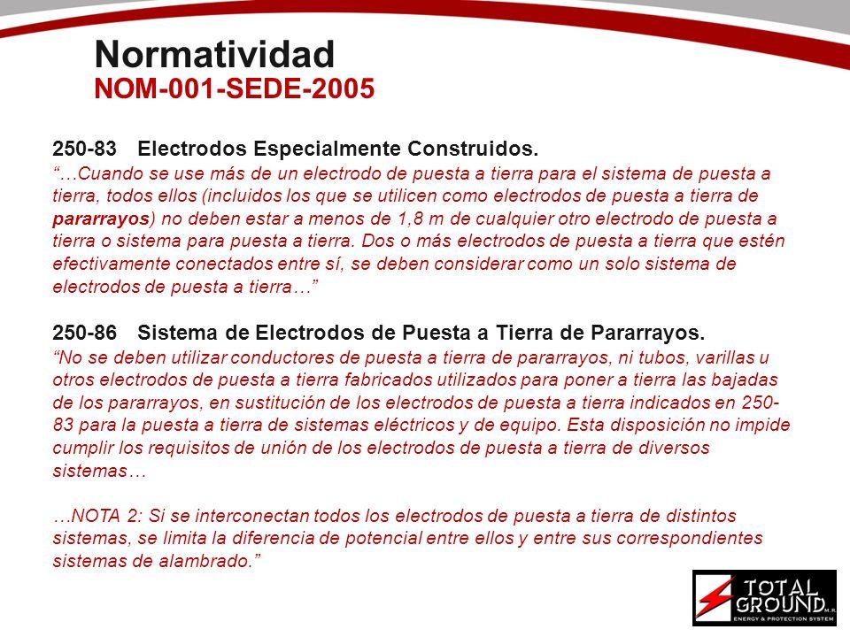 Normatividad NOM-001-SEDE-2005 250-83Electrodos Especialmente Construidos. …Cuando se use más de un electrodo de puesta a tierra para el sistema de pu