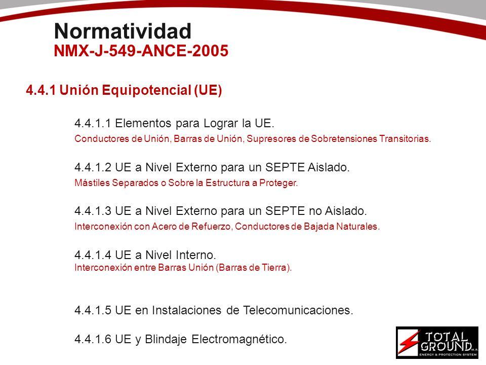 4.4.1 Unión Equipotencial (UE) 4.4.1.1 Elementos para Lograr la UE. Conductores de Unión, Barras de Unión, Supresores de Sobretensiones Transitorias.
