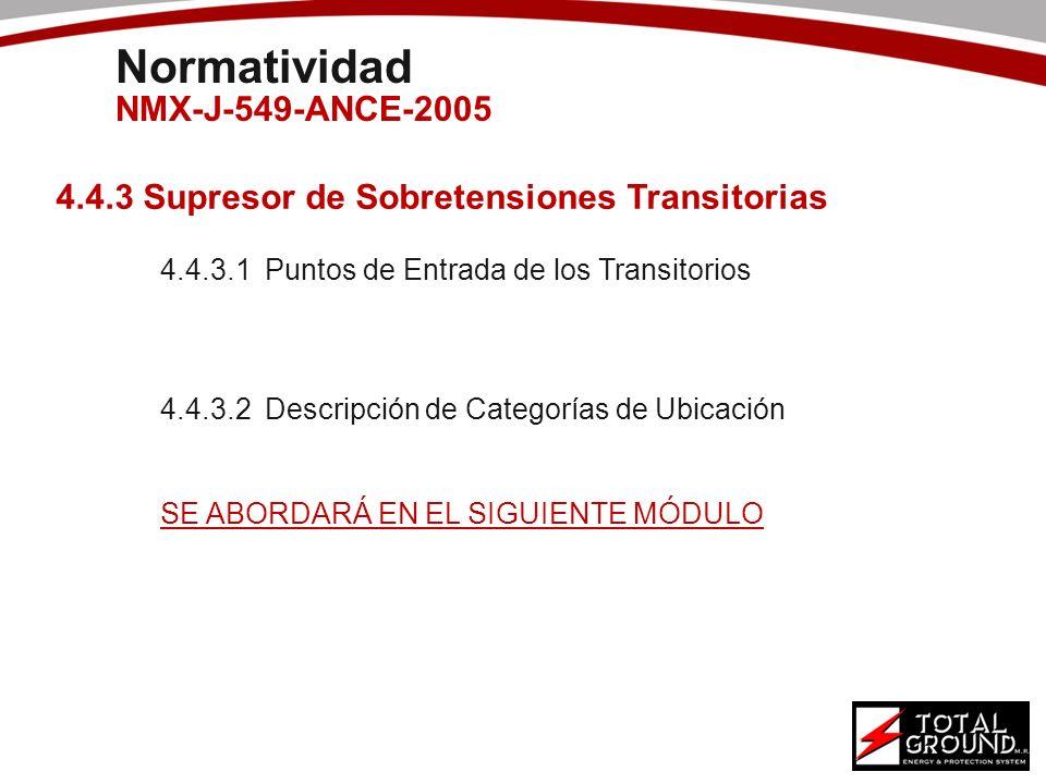 4.4.3 Supresor de Sobretensiones Transitorias 4.4.3.1Puntos de Entrada de los Transitorios 4.4.3.2Descripción de Categorías de Ubicación SE ABORDARÁ E