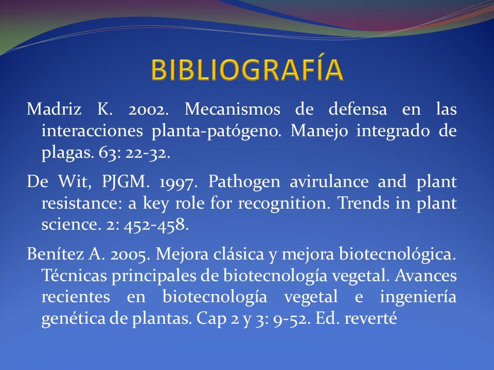 Madriz K. 2002. Mecanismos de defensa en las interacciones planta-patógeno. Manejo integrado de plagas. 63: 22-32. De Wit, PJGM. 1997. Pathogen avirul
