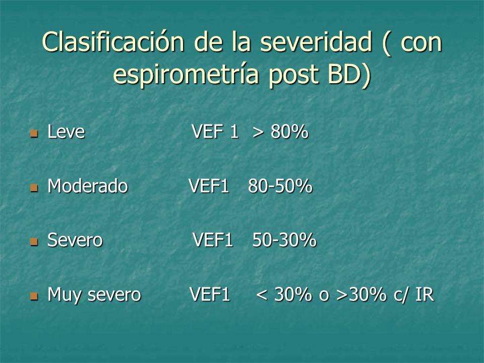 Clasificación de la severidad ( con espirometría post BD) Leve VEF 1 > 80% Leve VEF 1 > 80% Moderado VEF1 80-50% Moderado VEF1 80-50% Severo VEF1 50-3