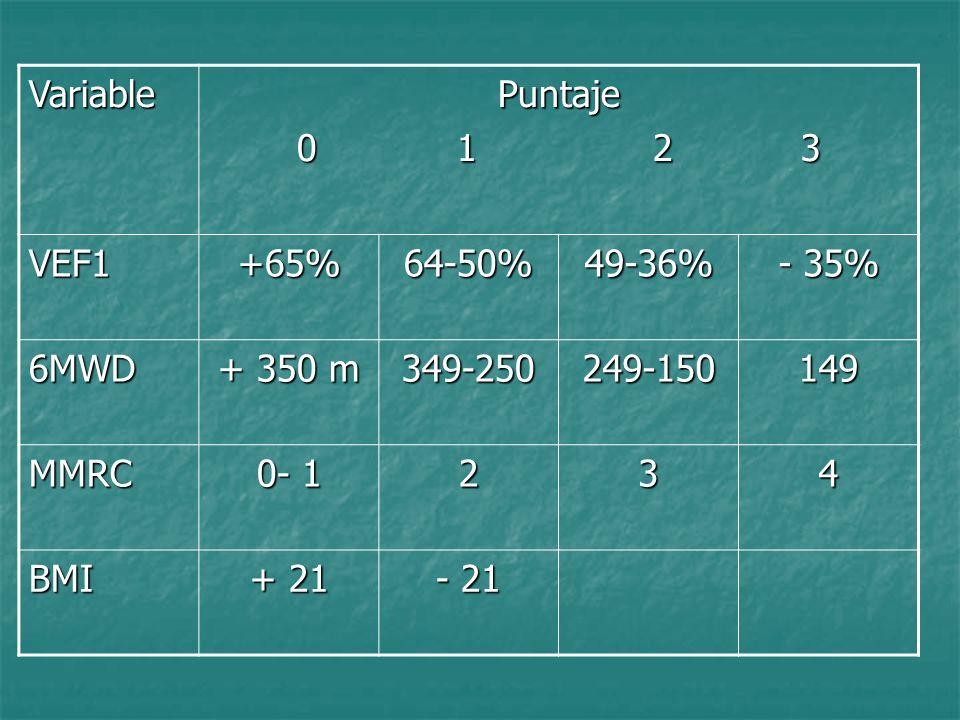VariablePuntaje 0 1 2 3 VEF1+65%64-50%49-36% - 35% 6MWD + 350 m 349-250249-150149 MMRC 0- 1 234 BMI + 21 - 21