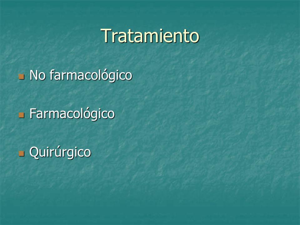 Tratamiento No farmacológico No farmacológico Farmacológico Farmacológico Quirúrgico Quirúrgico