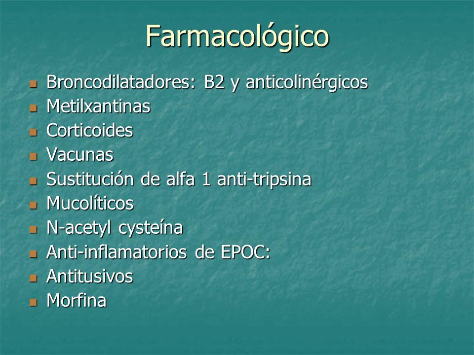 Farmacológico Broncodilatadores: B2 y anticolinérgicos Broncodilatadores: B2 y anticolinérgicos Metilxantinas Metilxantinas Corticoides Corticoides Va