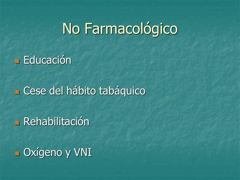 No Farmacológico Educación Educación Cese del hábito tabáquico Cese del hábito tabáquico Rehabilitación Rehabilitación Oxígeno y VNI Oxígeno y VNI