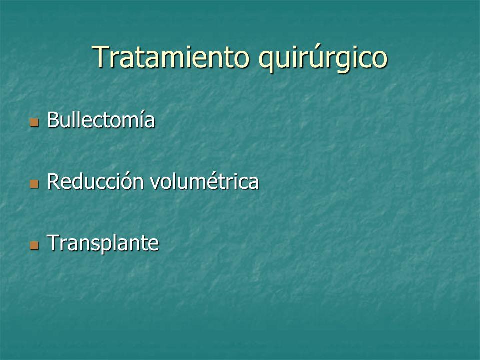 Tratamiento quirúrgico Bullectomía Bullectomía Reducción volumétrica Reducción volumétrica Transplante Transplante