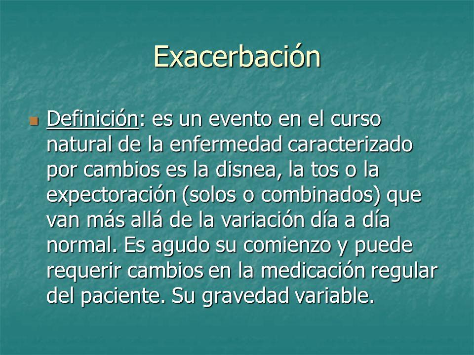 Exacerbación Definición: es un evento en el curso natural de la enfermedad caracterizado por cambios es la disnea, la tos o la expectoración (solos o