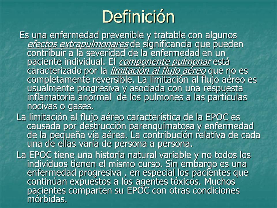 Definición Es una enfermedad prevenible y tratable con algunos efectos extrapulmonares de significancia que pueden contribuir a la severidad de la enf