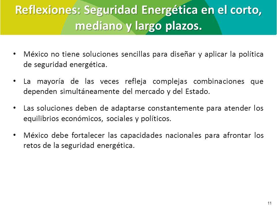 Reflexiones: Seguridad Energética en el corto, mediano y largo plazos. 11 México no tiene soluciones sencillas para diseñar y aplicar la política de s