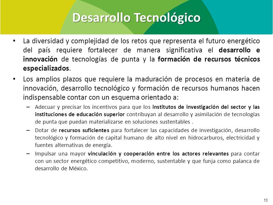 Desarrollo Tecnológico 13 La diversidad y complejidad de los retos que representa el futuro energético del país requiere fortalecer de manera significativa el desarrollo e innovación de tecnologías de punta y la formación de recursos técnicos especializados.