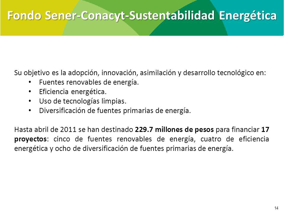 Su objetivo es la adopción, innovación, asimilación y desarrollo tecnológico en: Fuentes renovables de energía. Eficiencia energética. Uso de tecnolog