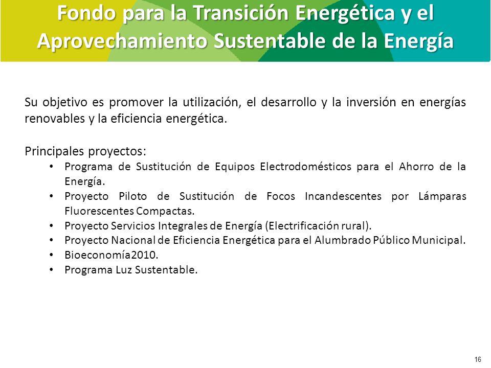 Su objetivo es promover la utilización, el desarrollo y la inversión en energías renovables y la eficiencia energética. Principales proyectos: Program