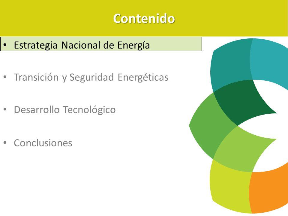 Estrategia Nacional de Energía Transición y Seguridad Energéticas Desarrollo Tecnológico ConclusionesContenido