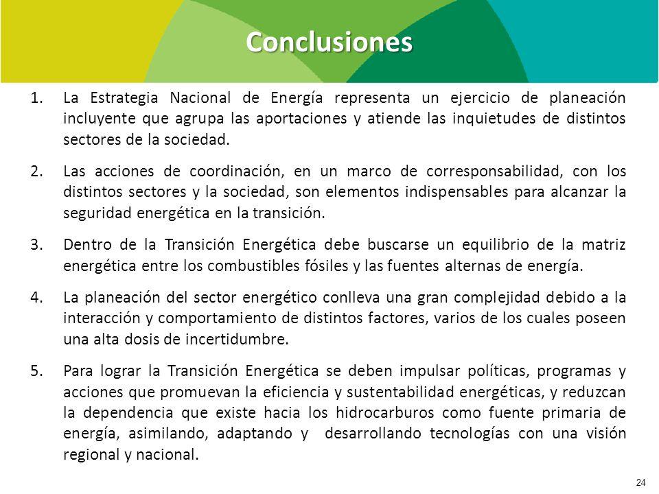 Conclusiones 24 1.La Estrategia Nacional de Energía representa un ejercicio de planeación incluyente que agrupa las aportaciones y atiende las inquietudes de distintos sectores de la sociedad.