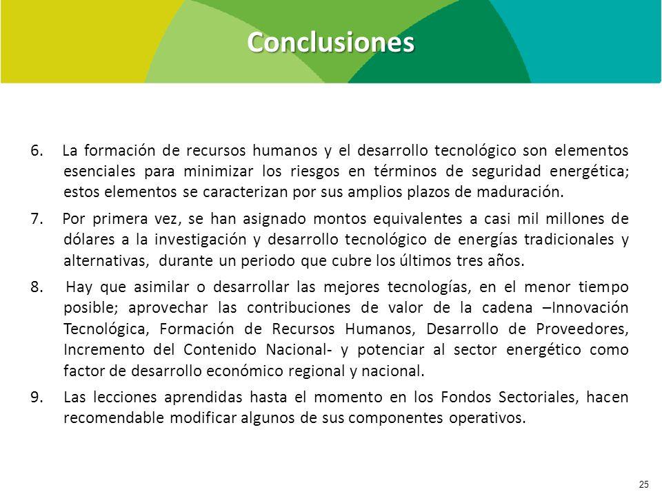 Conclusiones 25 6. La formación de recursos humanos y el desarrollo tecnológico son elementos esenciales para minimizar los riesgos en términos de seg