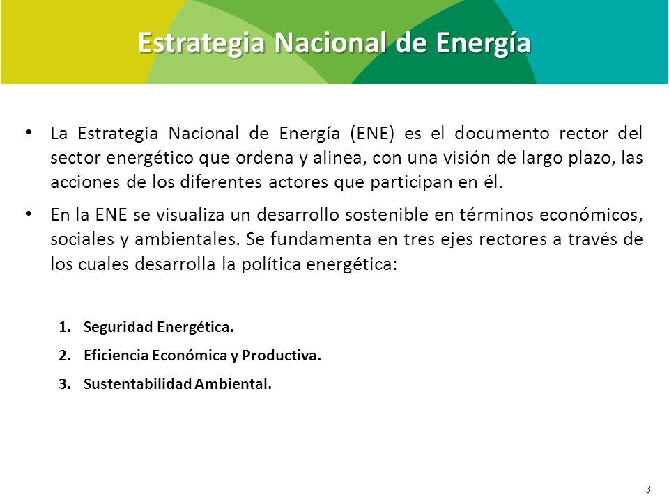 Estrategia Nacional de Energía 3 La Estrategia Nacional de Energía (ENE) es el documento rector del sector energético que ordena y alinea, con una visión de largo plazo, las acciones de los diferentes actores que participan en él.