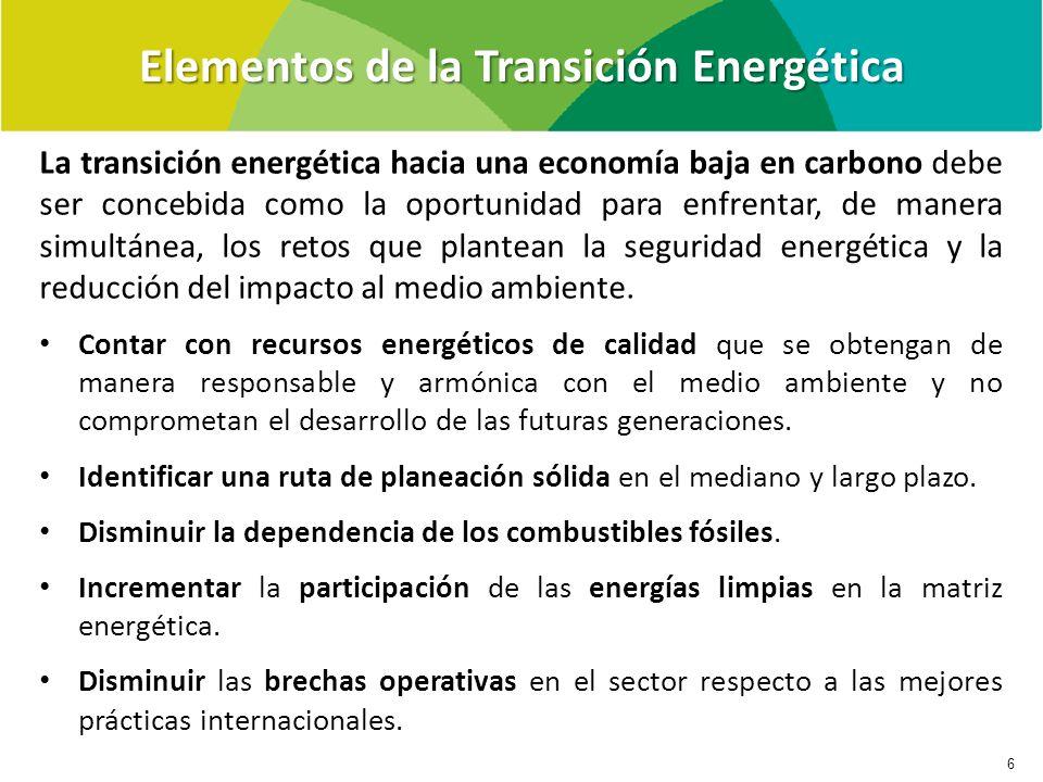 Elementos de la Transición Energética 6 La transición energética hacia una economía baja en carbono debe ser concebida como la oportunidad para enfrentar, de manera simultánea, los retos que plantean la seguridad energética y la reducción del impacto al medio ambiente.