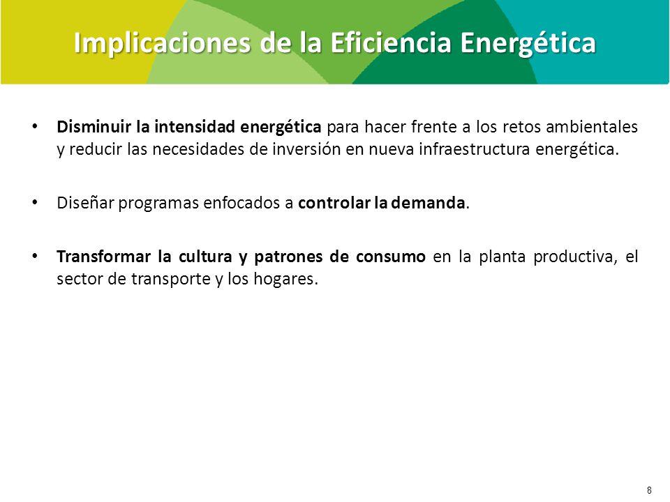 Implicaciones de la Eficiencia Energética 8 Disminuir la intensidad energética para hacer frente a los retos ambientales y reducir las necesidades de inversión en nueva infraestructura energética.
