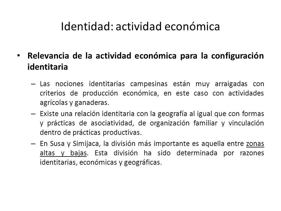 Identidad: actividad económica Relevancia de la actividad económica para la configuración identitaria – Las nociones identitarias campesinas están muy