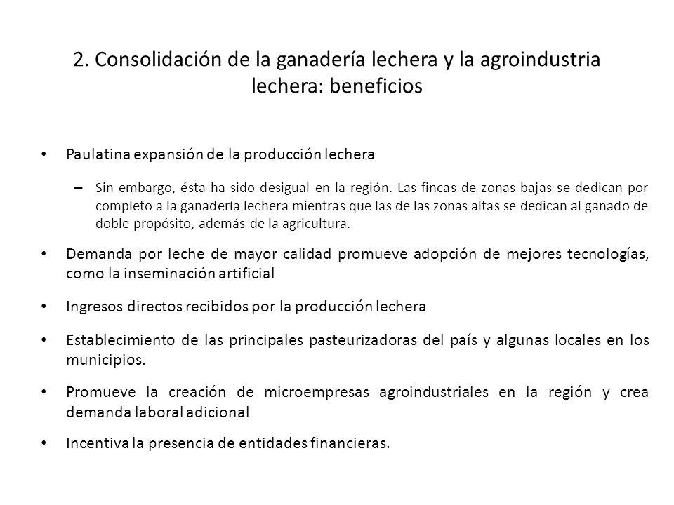2. Consolidación de la ganadería lechera y la agroindustria lechera: beneficios Paulatina expansión de la producción lechera – Sin embargo, ésta ha si
