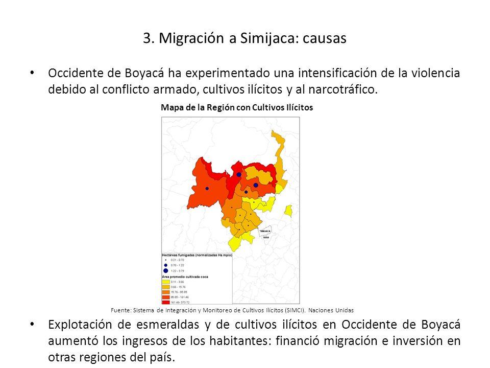 3. Migración a Simijaca: causas Occidente de Boyacá ha experimentado una intensificación de la violencia debido al conflicto armado, cultivos ilícitos