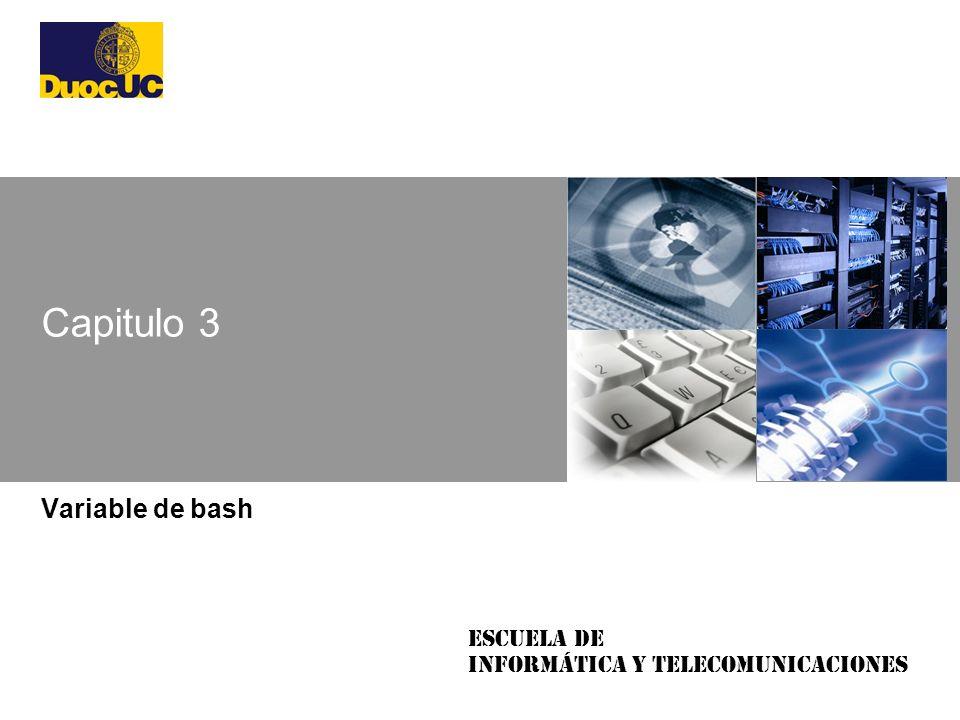 Escuela de Informática y Telecomunicaciones Capitulo 3 Variable de bash