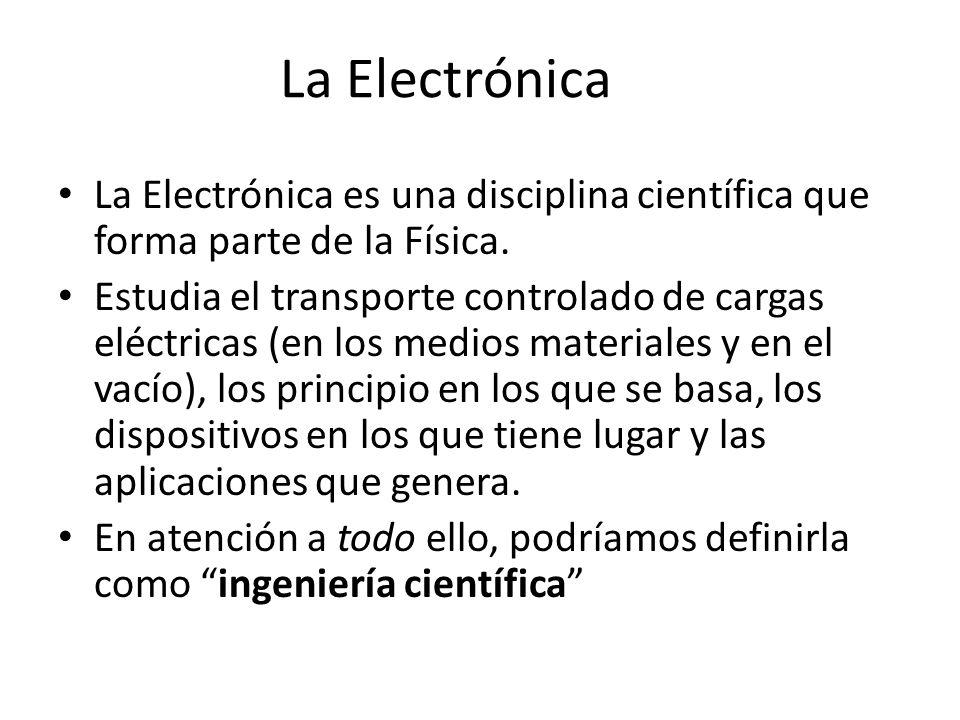 La Electrónica La Electrónica es una disciplina científica que forma parte de la Física. Estudia el transporte controlado de cargas eléctricas (en los