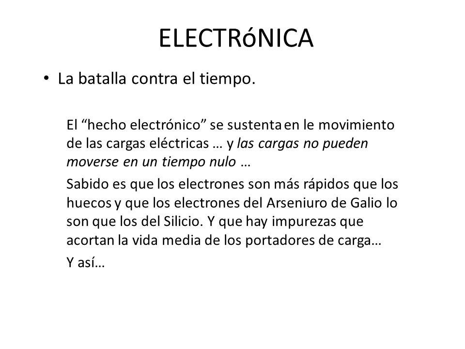 ELECTRóNICA La batalla contra el tiempo. El hecho electrónico se sustenta en le movimiento de las cargas eléctricas … y las cargas no pueden moverse e