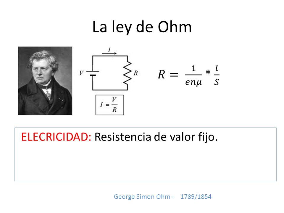 La ley de Ohm ELECRICIDAD: Resistencia de valor fijo. George Simon Ohm - 1789/1854