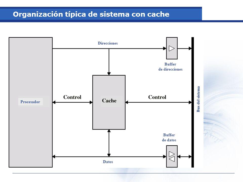 Organización típica de sistema con cache Direcciones Procesador Buffer de direcciones Bus del sistema Buffer de datos Datos