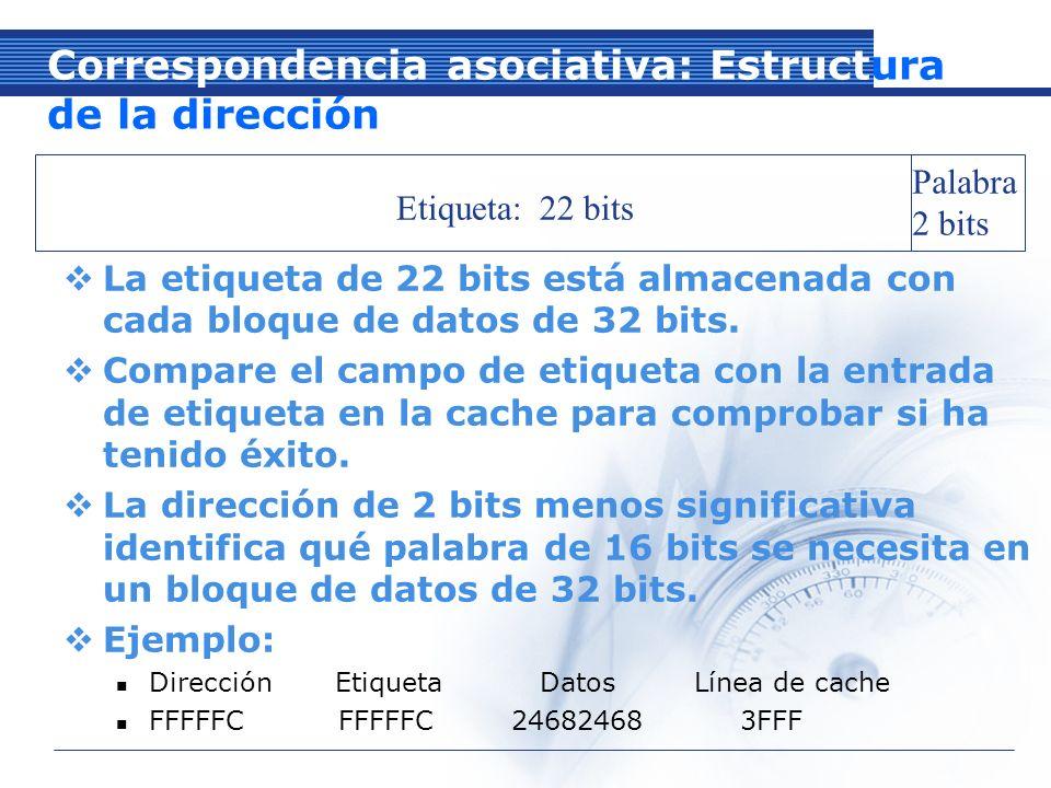 Etiqueta: 22 bits Palabra 2 bits Correspondencia asociativa: Estructura de la dirección La etiqueta de 22 bits está almacenada con cada bloque de datos de 32 bits.