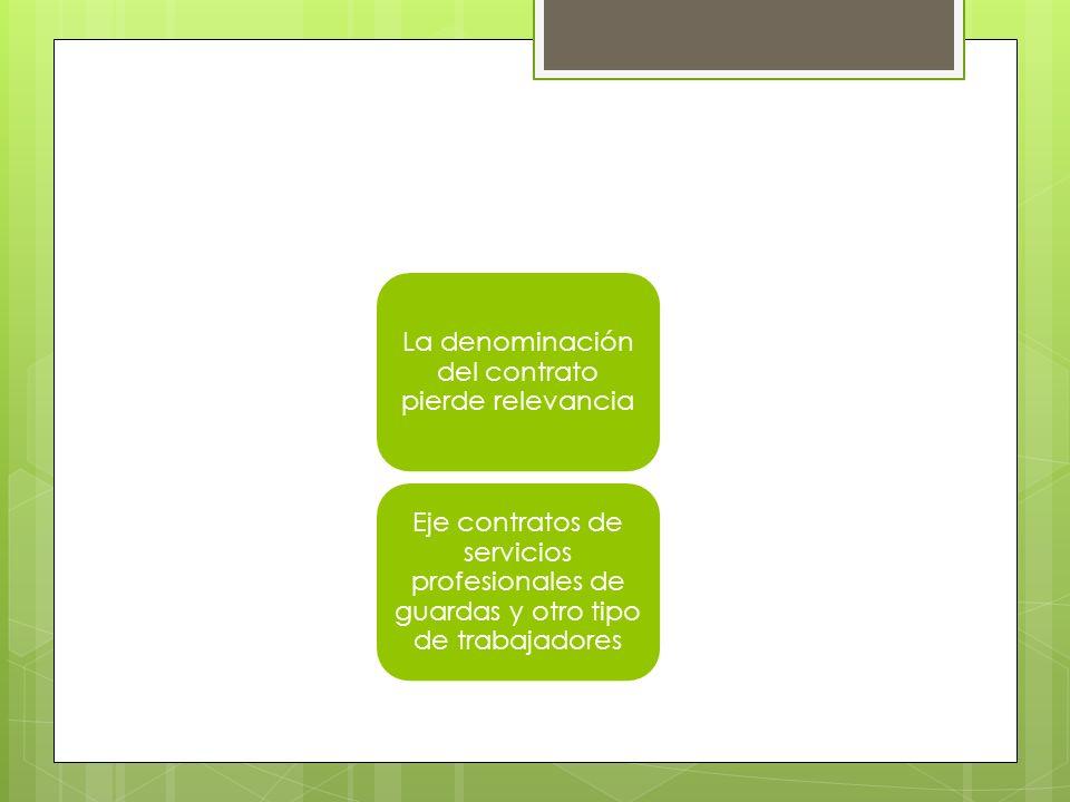 La denominación del contrato pierde relevancia Eje contratos de servicios profesionales de guardas y otro tipo de trabajadores