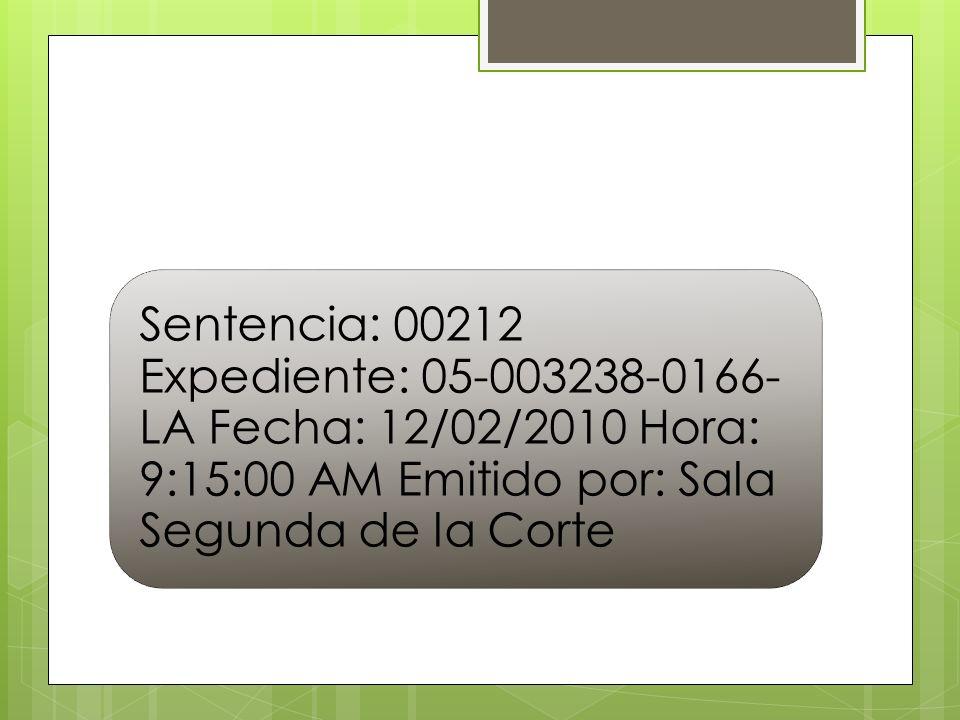 Sentencia: 00212 Expediente: 05-003238-0166- LA Fecha: 12/02/2010 Hora: 9:15:00 AM Emitido por: Sala Segunda de la Corte