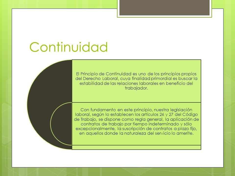 Continuidad El Principio de Continuidad es uno de los principios propios del Derecho Laboral, cuya finalidad primordial es buscar la estabilidad de la