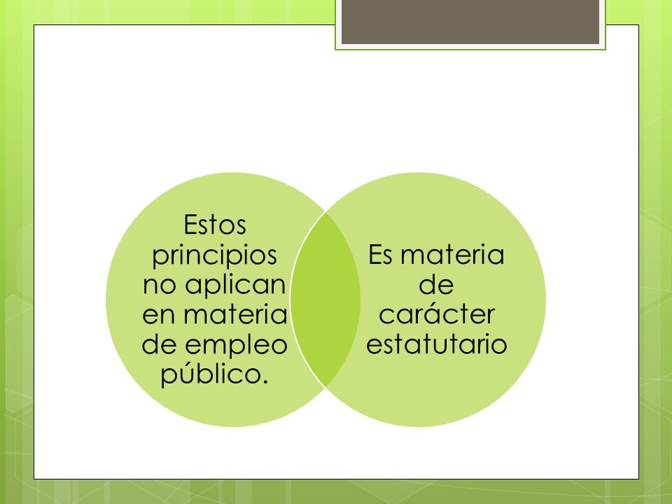 Estos principios no aplican en materia de empleo público. Es materia de carácter estatutario