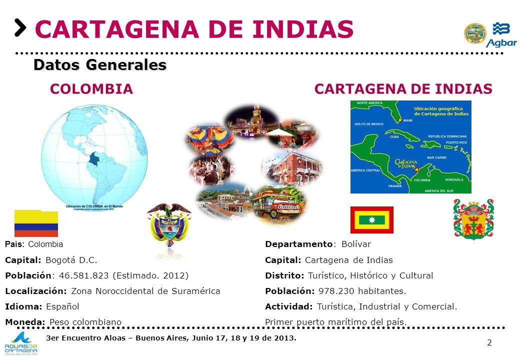 2 CARTAGENA DE INDIAS País: Colombia Capital: Bogotá D.C. Población: 46.581.823 (Estimado. 2012) Localización: Zona Noroccidental de Suramérica Idioma