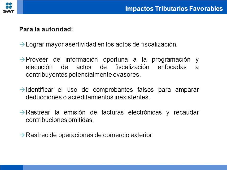 Impactos Tributarios Favorables Para la autoridad: Lograr mayor asertividad en los actos de fiscalización. Proveer de información oportuna a la progra