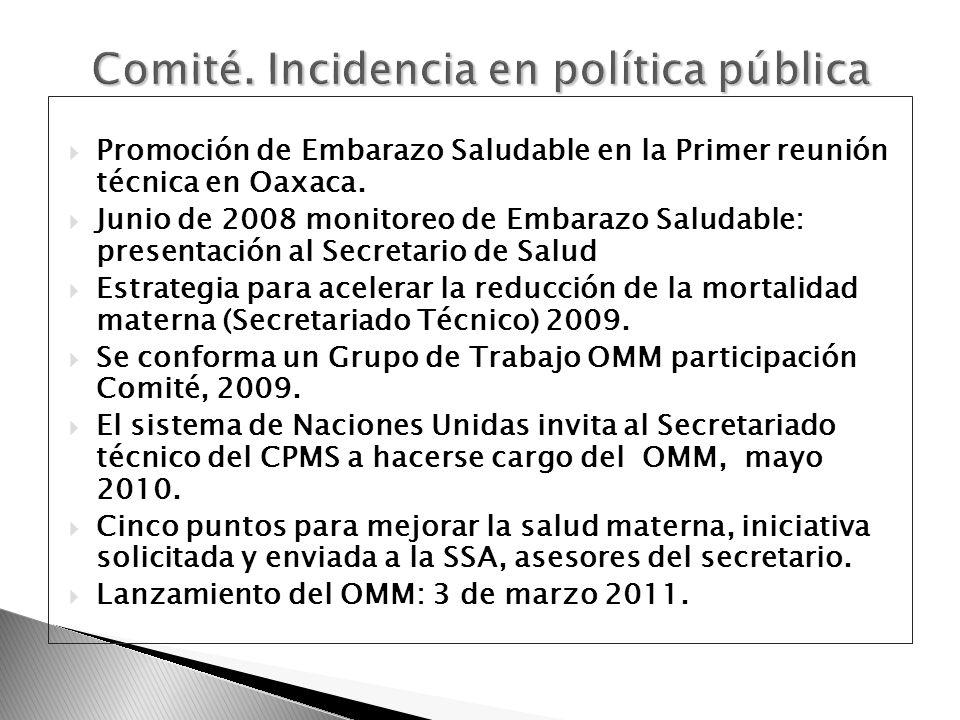 Promoción de Embarazo Saludable en la Primer reunión técnica en Oaxaca. Junio de 2008 monitoreo de Embarazo Saludable: presentación al Secretario de S