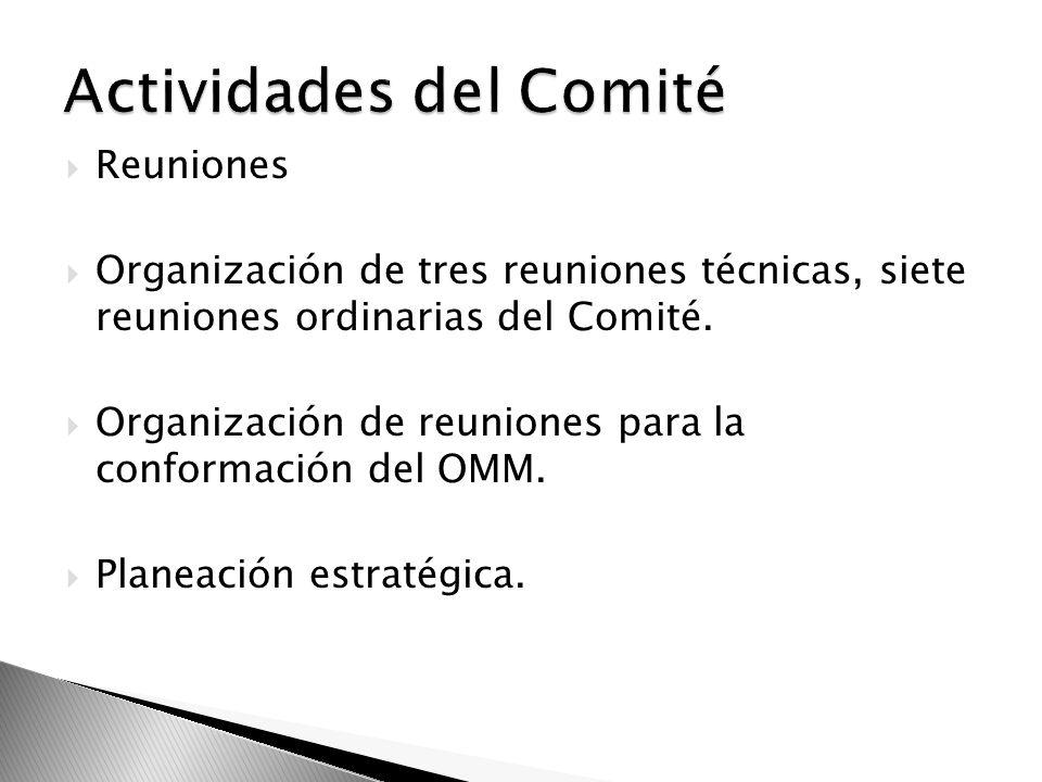 Reuniones Organización de tres reuniones técnicas, siete reuniones ordinarias del Comité. Organización de reuniones para la conformación del OMM. Plan