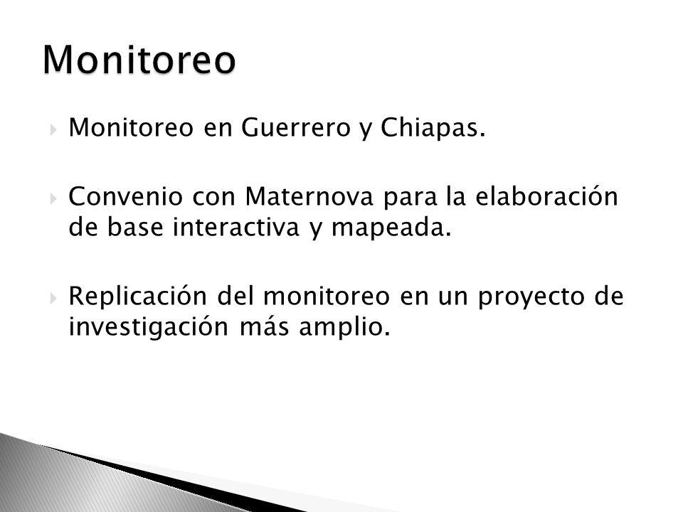 Monitoreo en Guerrero y Chiapas. Convenio con Maternova para la elaboración de base interactiva y mapeada. Replicación del monitoreo en un proyecto de