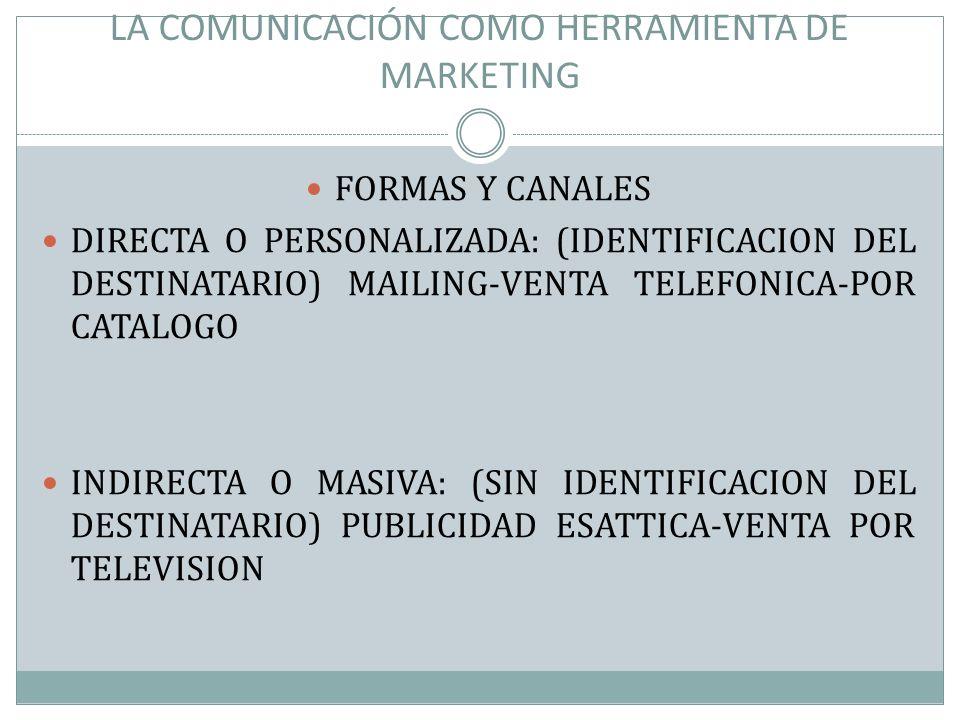 LA COMUNICACIÓN COMO HERRAMIENTA DE MARKETING FORMAS Y CANALES DIRECTA O PERSONALIZADA: (IDENTIFICACION DEL DESTINATARIO) MAILING-VENTA TELEFONICA-POR