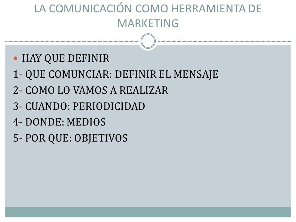LA COMUNICACIÓN COMO HERRAMIENTA DE MARKETING HAY QUE DEFINIR 1- QUE COMUNCIAR: DEFINIR EL MENSAJE 2- COMO LO VAMOS A REALIZAR 3- CUANDO: PERIODICIDAD