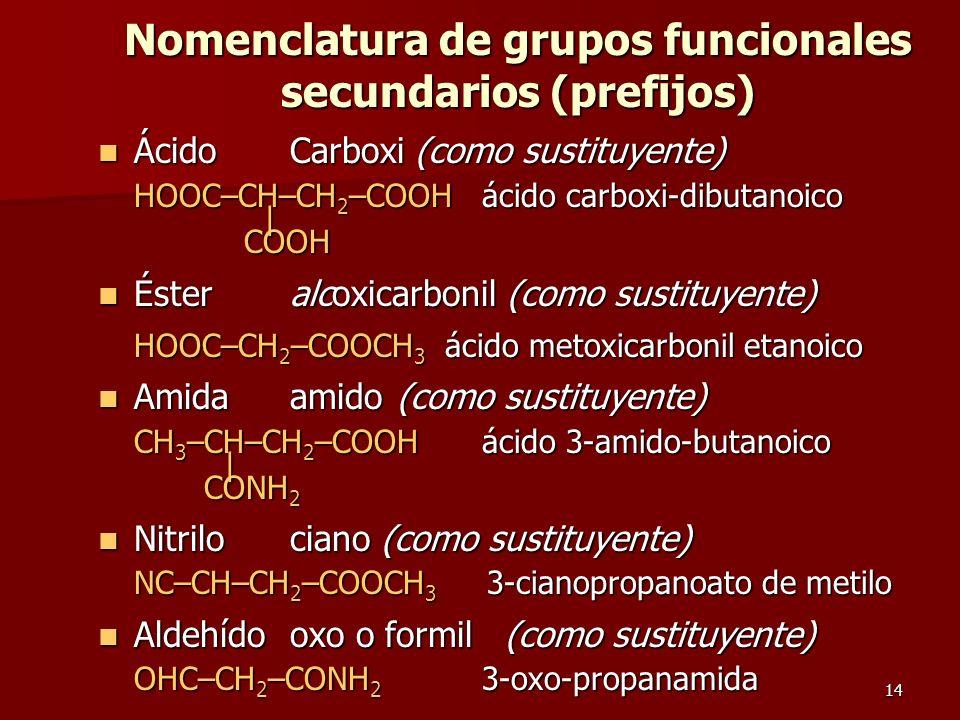 14 Nomenclatura de grupos funcionales secundarios (prefijos) ÁcidoCarboxi (como sustituyente) ÁcidoCarboxi (como sustituyente) HOOC–CH–CH 2 –COOH ácid