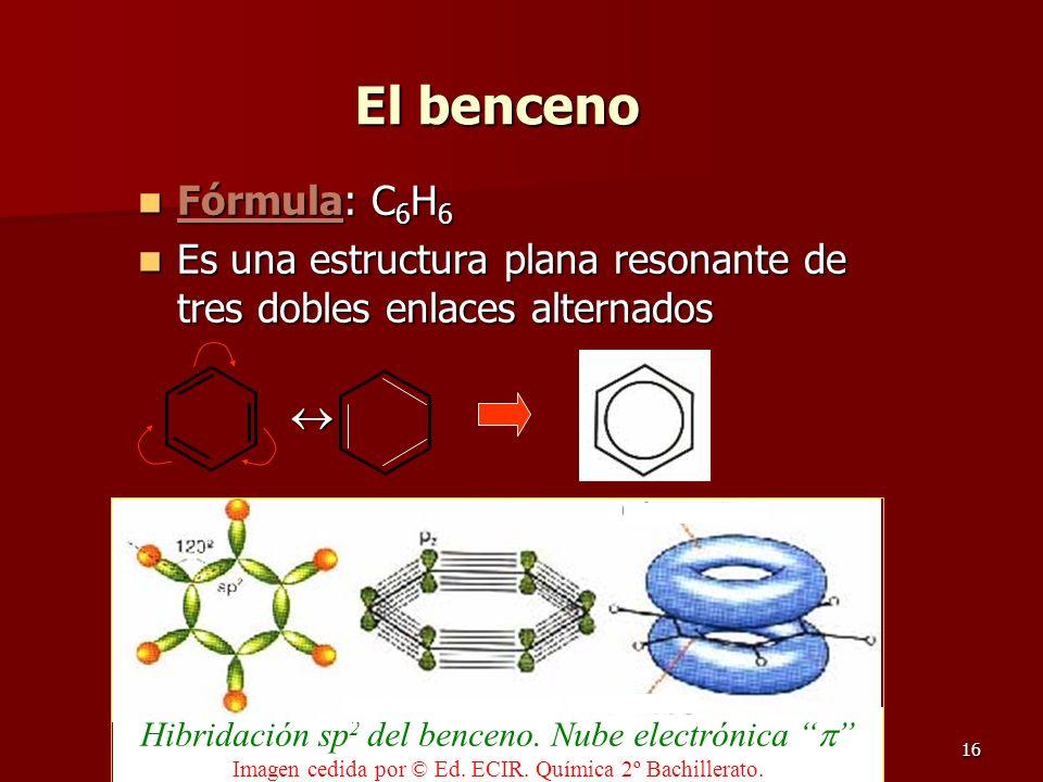 16 El benceno Fórmula: C 6 H 6 Fórmula: C 6 H 6 Es una estructura plana resonante de tres dobles enlaces alternados Es una estructura plana resonante