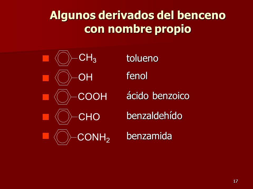 17 Algunos derivados del benceno con nombre propio tolueno tolueno fenol fenol ácido benzoico ácido benzoico benzaldehído benzaldehído benzamida benza